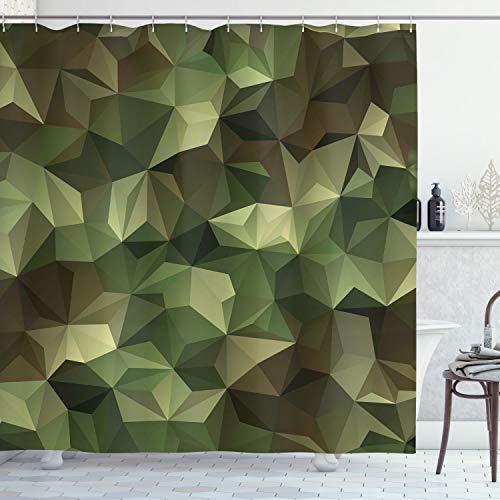 ABAKUHAUS Geometrisch Duschvorhang, Winkel Polygon Entwurf, mit 12 Ringe Set Wasserdicht Stielvoll Modern Farbfest & Schimmel Resistent, 175x200 cm, Olivgrün Grün Braun