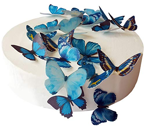 24 X PRE-Cut Beautiful Medium Blue Butterflies Edible Rice/Wafer Paper PRE Cut Cupcake Cake Dessert Toppers Birthday Party Wedding Baby Shower Decorations (Medium)