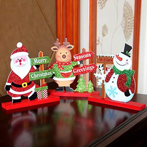Homeofying Hölzerne Elch Santa Schneemann Ornament Home Hotel Restaurant Weihnachtsdekoration Weihnachtsbaum Hängen Anhänger Tropfen Finals Decor Xmas Party Ornament Hirsch*