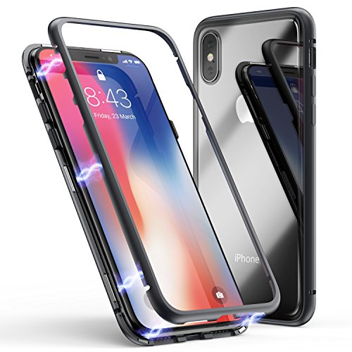 iPhone X Case, iPhone XS Case, ZHIKE Magnetic Adsorption Case Metal Frame Tempered Glass Back with Built-in Magnet Cover [Support Wireless Charging] for Apple iPhone 10/X/XS (Clear black)