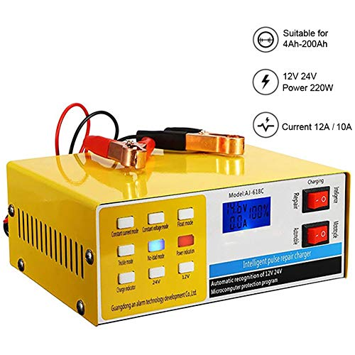Donteec 12V Battery Charger, Trickle Chargers for 12 Volt Batteries 12V / 24V Smart Pulse Auto Repair Car Battery Charger, Best Portable Battery Starter