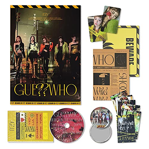 ITZY Mini Album - GUESS WHO [ NIGHT ver. ] CD + Photobook + Photocard + Mini Folding Poster + Sticker Pack + Newspaper + OFFICIAL POSTER