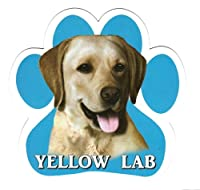 YELLOW LAB 足跡マグネットステッカー:イエローラブ 画像イラスト入り 英語犬種名 Designed in the U.S.A [並行輸入品]