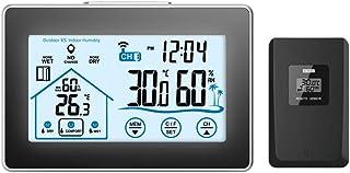 Winbang Estación Meteorológica Inalámbrica, Termómetro Digital Reloj Higrómetro con Retroiluminación y Sensor para Interiores y Exteriores