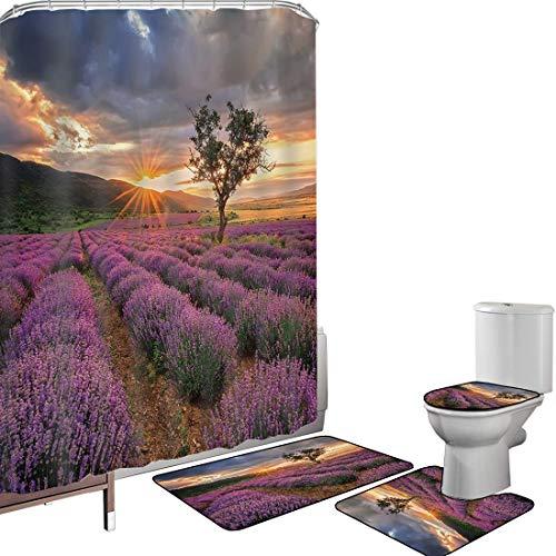 Ensemble de rideau douche Accessoires salleLavande Couverture toilette pour tapis bain Paysage idyllique avec soleil levant et rangées infinies Champ de lavande en pleine floraison,multicolore Antidér