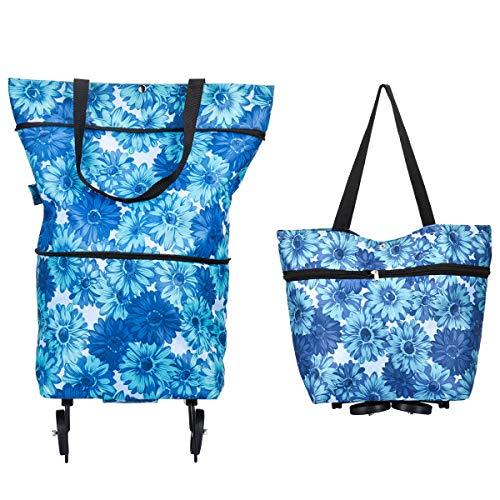 Adoraland Einkaufstasche mit Rollen Einkaufstrolleys Faltbar auf Raedern Leicht Groß 30 x 27 x 16 Zentimeter Blau/Weiss
