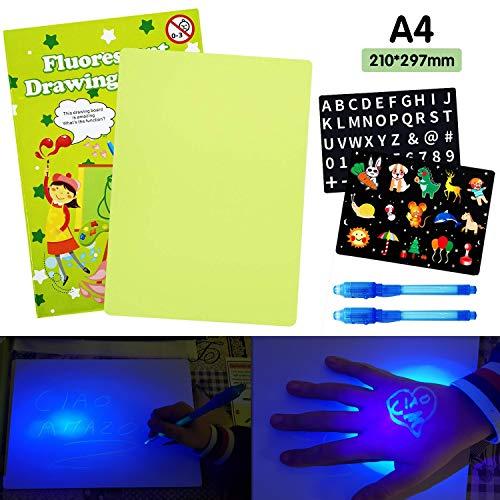 AGAKY Lavagna Luminosa per Disegnare Bambini Tavola da Disegno Fluorescente con Penna Magica Luminosa Giocattoli Educativo per Bambini con Blocco da Disegno Light Drawing Board (A4, Verde).