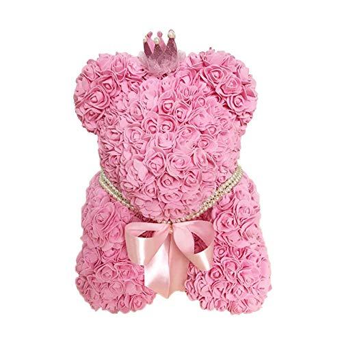 Starter Rose Bear, Poupée En Peluche En Forme De Fleur Simulée À La Main En Mousse PE Pour Petite Amie, Cadeaux D'anniversaire Créatifs Pour Le Mariage De La Saint-Valentin, 402828cm.
