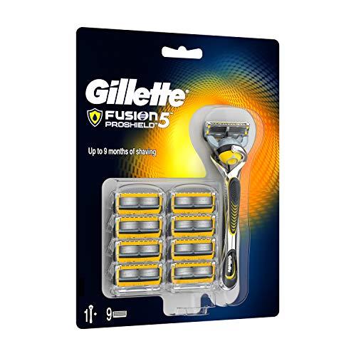 Gillette Fusion ProShield Maquinilla de Afeitar + 9 Cuchillas de Recambio