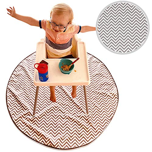 Babycurls Large High Chair Baby Splash Mat 130cm Kitchen Floor Covering Protector Waterproof & Anti Slip for Under Highchair to Catch Food from Messy Toddlers and Kids at Feeding Time - Grey Chevron