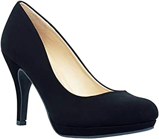 Women's Almond Toe Mid Heel Pumps-Shoes