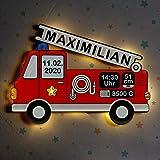 LAUBLUST Schlummerlicht Feuerwehrauto - Personalisiertes Baby-Geschenk zur Geburt & Taufe - LED Hintergrund-Beleuchtung