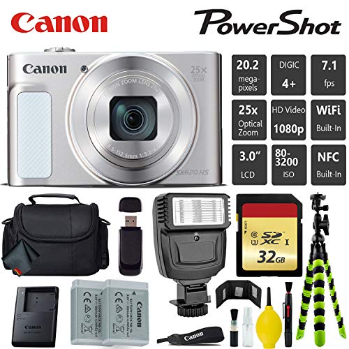 Canon PowerShot SX620 HS Digital Point and Shoot 20MP Camera (Silver) + Extra Battery + Digital Flash + Camera Case + 32GB Class 10 Memory Card - International Version