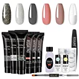 ROSALIND Poly Nail Gel Kit - Nude Grey Poly Nail Gel 6 Colors Builder Gel Nail Extension Gel Nail Enhancement Manicure Kit for Gel Polish Starter and Professional Nail Technician Grey Series