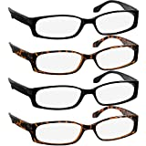 Reading Glasses 3.25 Best 2 Black 2 Tortoise Readers for Men and Women Stylish Look and Crystal Clear Vision When You Need It! Comfort Spring Arms & Dura-Tight Screws