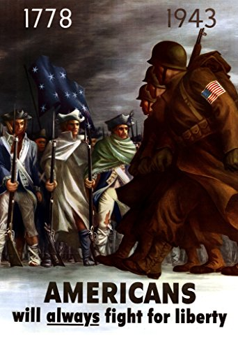 WPA War Propaganda Americans Will Always Fight for Liberty Cool Wall Decor Art Print Poster 24x36
