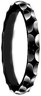 3mm - Man or Ladies - Titanium Black Enamel High Polish Wave Facet Cut Fashion Wedding Band Ring