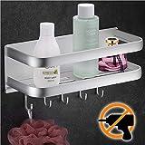 Wangel Duschkorb Duschablage ohne Bohren, mit 5 Haken, Patentierter Kleber + Selbstklebender Kleber