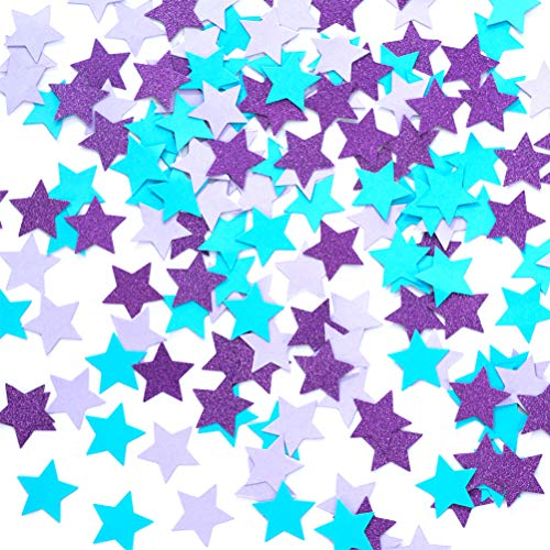 MOWO Star Paper Confetti for Table Wedding Birthday Mermaid Party Decoration,1.2 inch in Diameter(Turquoise Blue,Lavender,Purple,200pc)