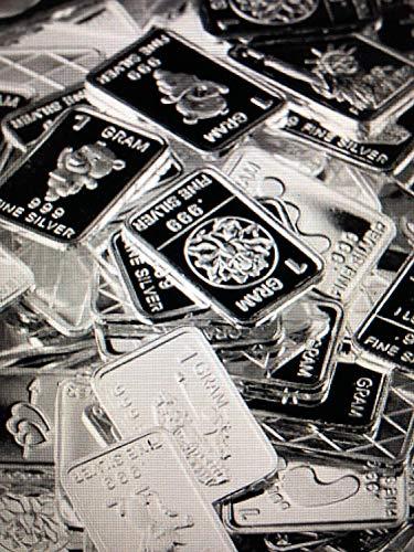 TEN One Gram .999 pure Silver Bars with random designs in a jewelry pouch (Original Version)