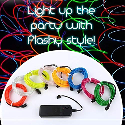 Fine 1M Battery Operated Luminescent Neon LED Lights Glow EL Wire String Strip Rope for Car Door/Console/Seat/Dash Board Decoration (Pink) 6