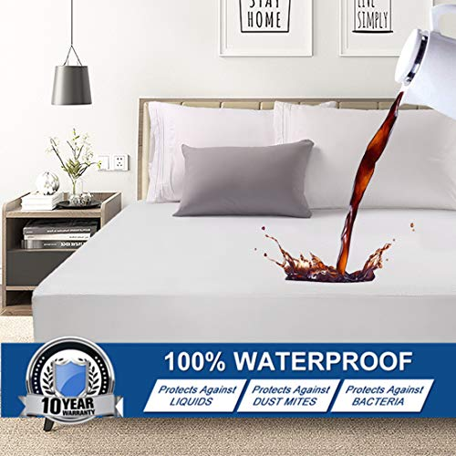 Abakan Queen Mattress Protector 100% Waterproof Super Soft Breathable Noiseless Premium Fitted Mattress Pad Cover Luxury Elastic Deep Pocket Vinyl Free Bed Cover 60x80 Inch
