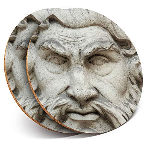 Destination Vinyl ltd - Posavasos (2 Unidades, Redondos, con Estatua de Dios Griego Zeus, protección para Cualquier Tipo de Mesa)