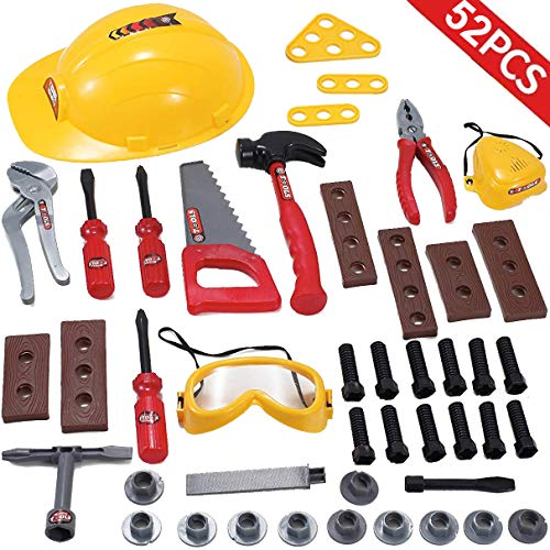 Liberty Imports Little Handyman Repair Toy Tool Set Pretend Play Construction with Hard Hat, Nuts, Bolts and Safety Accessories Set - Realistic Plastic Kids Children Playset (52 Piece Set)