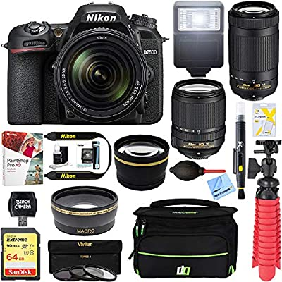 Nikon D7500 20.9MP DX-Format Digital SLR Camera with AF-S 18-140mm f/3.5-5.6G ED VR Lens Bundle with AF-P DX NIKKOR 70-300mm f/4.5-6.3G ED VR Lens, 64GB Memory Card and Accessories (12 Items) by Nikon