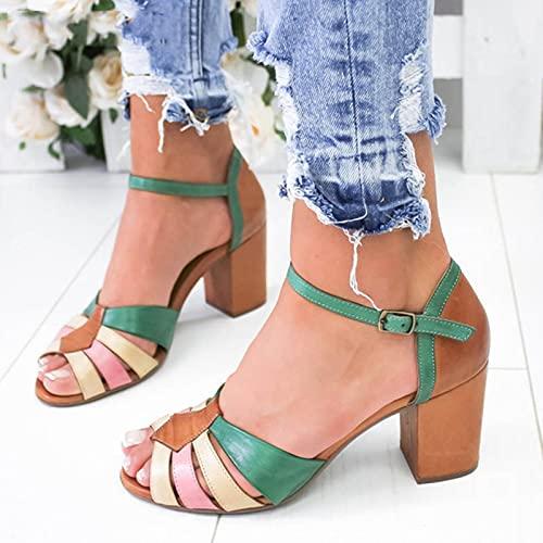 JUSTMAE Sandali Estivi Donna Fibbia alla Caviglia Tacchi Alti Sexy Femminile Peep Toe Moda Sandalias Colore Misto Scarpe da Donna