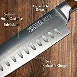 Zolmer® Profi Santokumesser aus deutschem Carbon Edelstahl und Pakkaholz - Rostfreies Sushi Messer mit Antihaftbeschichtung - Japanisches Küchenmesser - 3