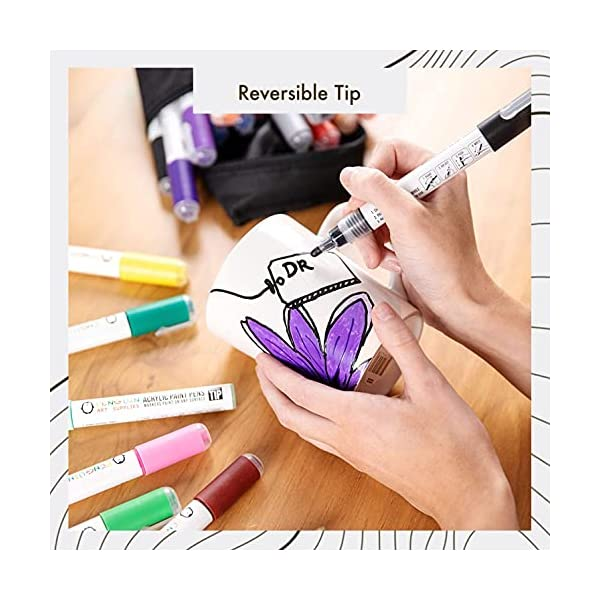 28-Dual-Tip-Acrylic-Paint-Pens-Craft-Paint-Markers-for-Painting-Wood-Glass-Rock-Ceramic-Porcelain-Non-Toxic-Reversible-Paint-Pen-with-Thick-5mm-Tip-and-3mm-Fine-Tip-28-Pens-with-Zipper-Pouch