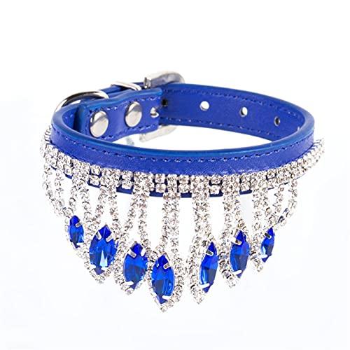 DHZYY Collar de Perro, Collar de Cristal de Mascotas Cuello de Correa de Cuello de Perrito, para pequeños Collar de Gato de Perro (Color : Blue, Size : M)