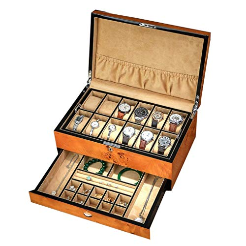 DFJU Schmuck- und Uhren-Aufbewahrungsbox mit Manschettenknopf-Box und Schublade Hölzernes Uhrengehäuse Armbandablage mit abnehmbaren weichen Kissen Große Aufbewahrungsmöglichkeit für Geschenke