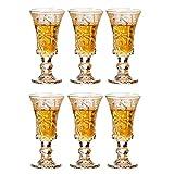 Hohe Qualität 6PCS Bleifreie Kelch Kristall Moutai Liquor Kugel KTV Bar Becherspender Anzug gravierte Blumen-Entwurf Trinken Werkzeug Trinkgefäße gläser set (Color : 6PCS)