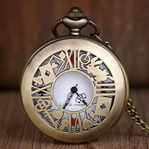 YHWW Montre de Poche Nouvelle Alice Wonderland Série Creux Grande Fleur Clé Rabbit Palace Rétro Montre De Poche Drop Shipping