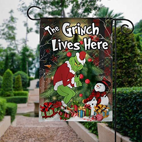 "Garden Flag The Grinch Lives Here Flag, Grinch Christmas Flag Yard Decor House Decor Flag Seasonal Banners for Patio Lawn Outdoor 28x40"""
