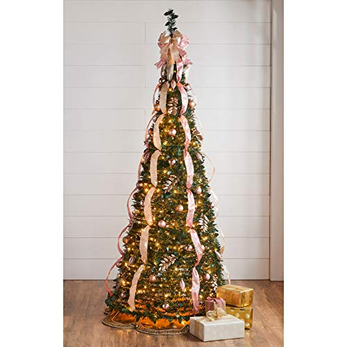 BrylaneHome Christmas Fully Decorated Pre-Lit 7 1/2' Pop-Up Christmas Tree, Pink