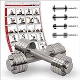 POWRX Chrom Kurzhantel | 2x5kg oder 2x10kg | Gewichte-Set Paar verchromt und gerändelt | Ideal für...