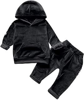 VEKDONE Toddler Baby Boys Girls Clothes Sweatshirt Kangaroo Pocket Hoodie Tops Sweatsuit Pants Outfits Set