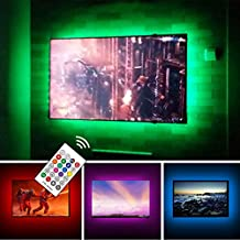 USB TV Backlight Kit for 70 75 80 82 inches Smart TV Monitor HDTV Work Space Decor - Cover 4/4 Sides Behind TV Background Lights Ambient Mood Lighting