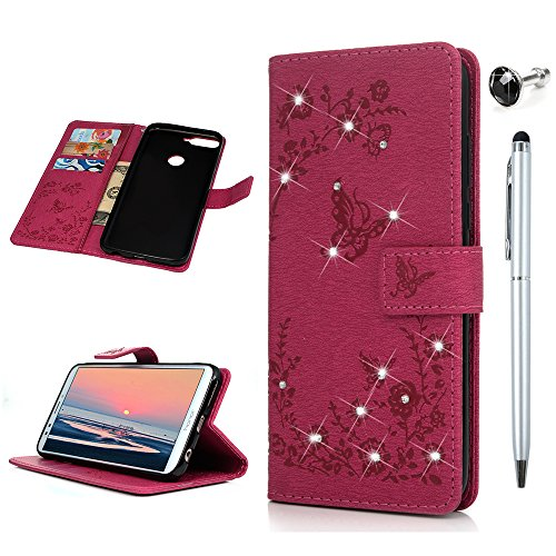 Huawei Y7 2018 Handyhülle Honor 7C Hülle Glitzer Starss Schmetterling Muster Leder Tasche Flip Case Cover Schutzhülle Silikon Handtasche Skin Ständer Klapphülle Schale Bumper Magnetverschluss-Roserot