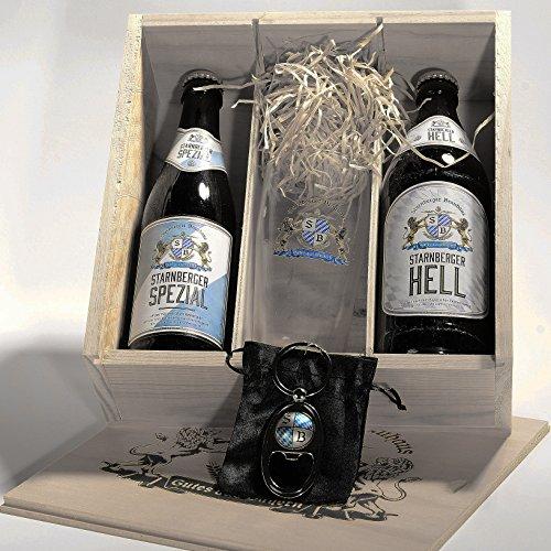 4 teilige Geschenkbox - Bayerisches Bier mit Flaschenöffner vom Starnberger Brauhaus