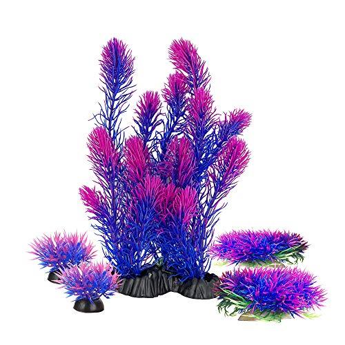 Aquariums Decorations Plants, Aquarium Aquascape Artificial Plastic Plant for Fish Tank Decor Green/Purple (Purple Set)
