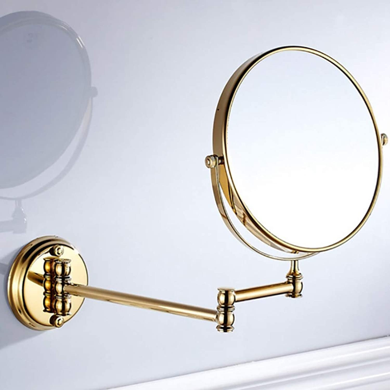 LUDSUY Bronze Black Bathroom Mirror Shelf Wall Mounted 8 Inches Metal Folds Adjustable Chromium gold Bathroom Mirror 360 Degrees of redation, gold
