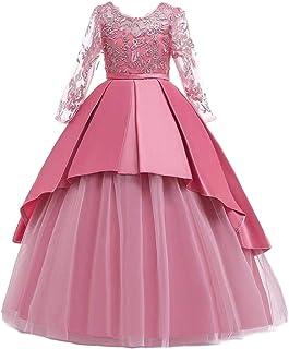 BestGift Kids Girls Wedding Flower Girl Dress elegant Princess Party Pageant Formal Dress Sleeveless Lace Tulle long Dress