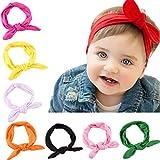 Lomire 10Pcs bandeaux en coton de cheveux pour bébés, serre-tête élastique d'un style des oreilles de lapin pour les petites filles, accessoires mignons pour bébés ou petites filles, couleur random