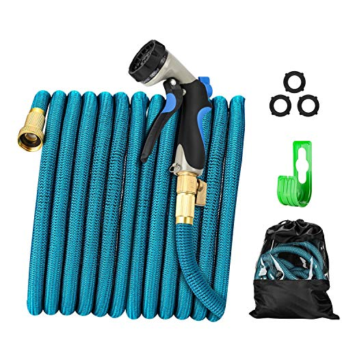 Garden Hose - Heavy-Duty, Flexible, Expandable, Retractable, Collapsible, Compact, Safe, Lightweight - No Tangle, Kink or Coil, Easy Storage - Best Waterhose for Gardening, Free Nozzle (50)