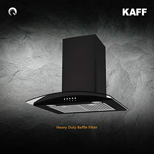 KAFF FIM BF 60 | Curved Tempered Glass | Heavy Duty Baffle Filter | Front Panel Black Glass |Black Color
