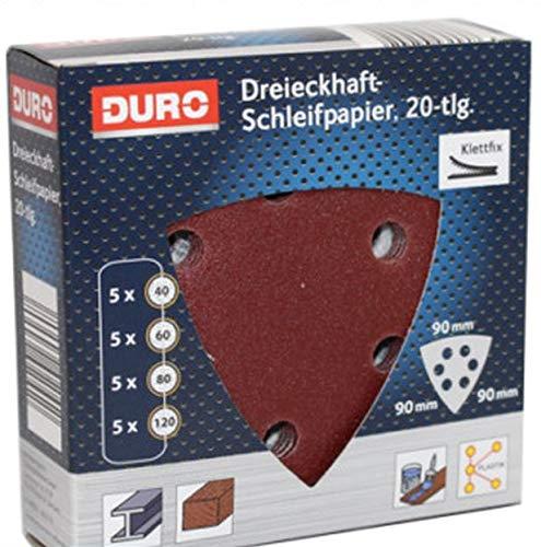 DURO Dreieckhaft Klett Schleifpapier für Deltaschleifer Dreieckschleifer 90 x 90 x 90 mm
